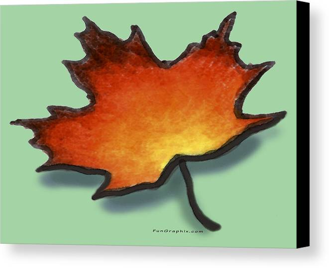 Leaf Canvas Print featuring the greeting card Autumn Leaf by Kevin Middleton