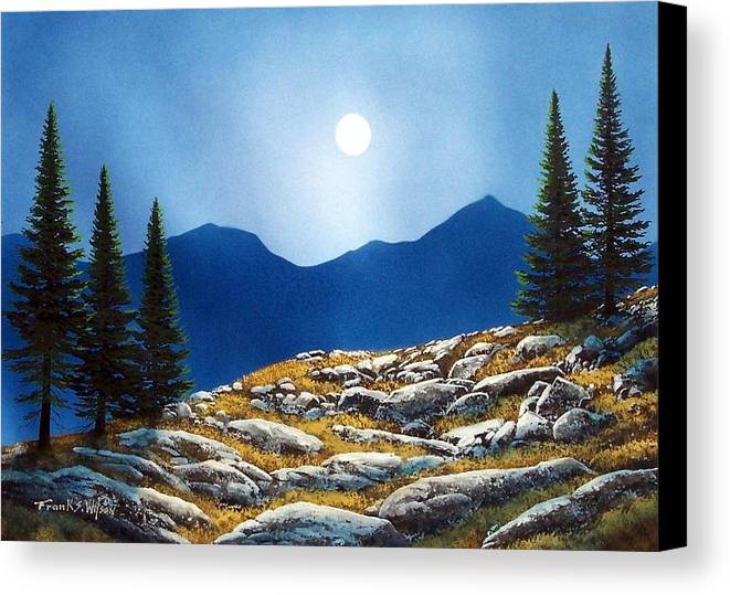 Landscape Canvas Print featuring the painting Autumn Moon by Frank Wilson