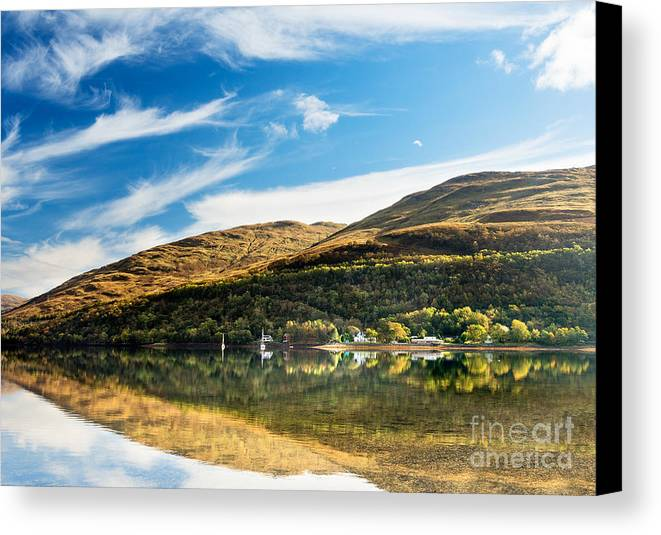 Arrocher Canvas Print featuring the photograph Autumn Reflection, Loch Long by Richard Burdon