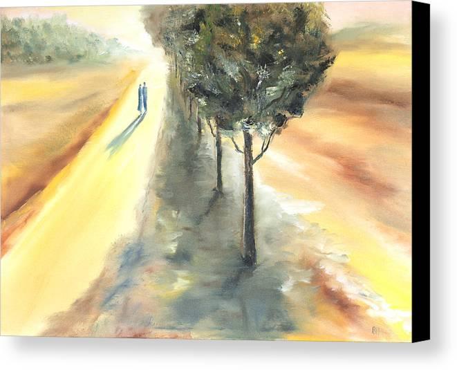 Landscape Canvas Print featuring the painting Autumn Walk by Vera Persiyanova