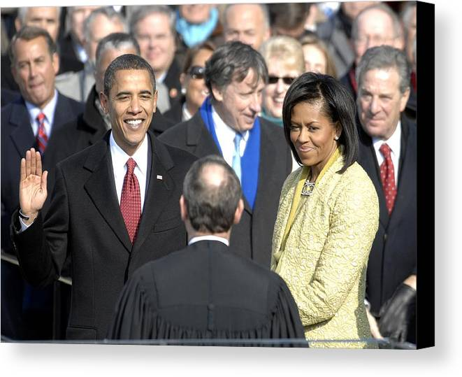 History Canvas Print featuring the photograph Barack Obama Is Sworn In As The 44th by Everett