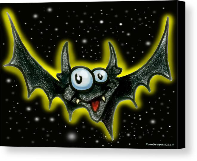 Bat Canvas Print featuring the greeting card Batty by Kevin Middleton