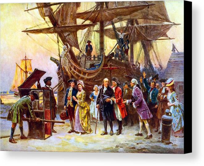 Benjamin Franklin Canvas Print featuring the painting Ben Franklin Returns To Philadelphia by War Is Hell Store