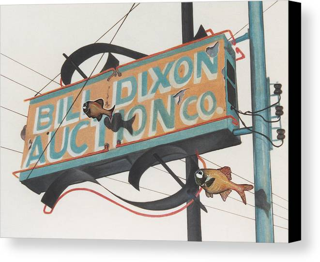 Cityscape Canvas Print featuring the painting Bill Dixon Auction by Van Cordle