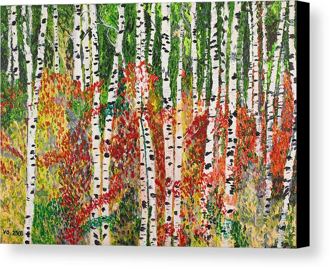 Landscape Canvas Print featuring the painting Birch Forest by Valerie Ornstein