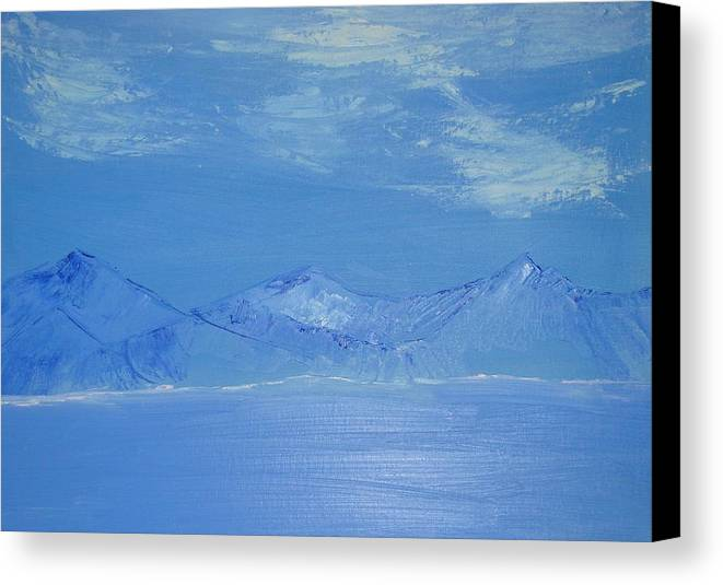 Mountains Canvas Print featuring the painting Blue Landscape by Liz Vernand