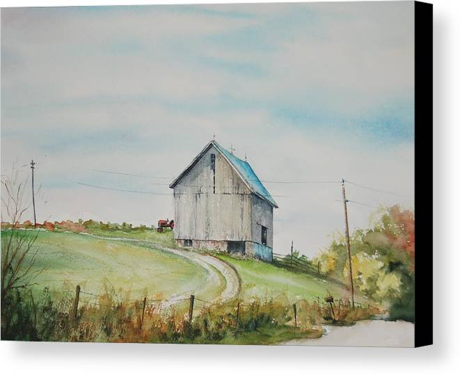 Landscape Canvas Print featuring the painting Blue Skies by Mike Yazel