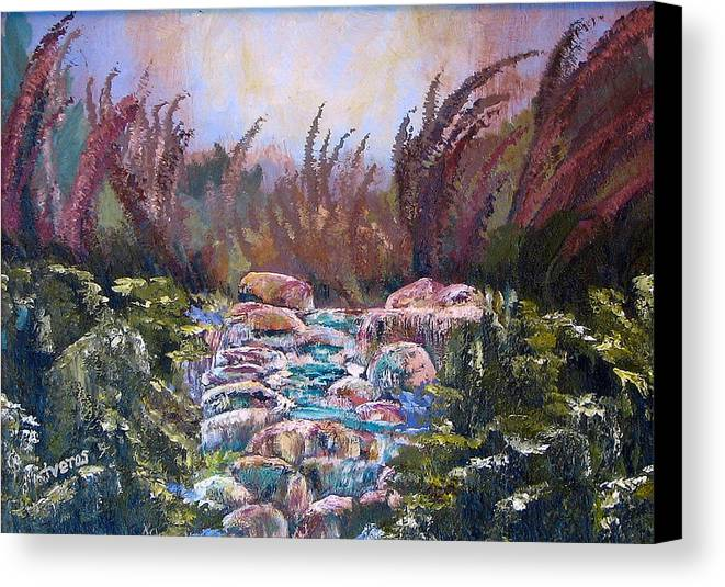 Water Canvas Print featuring the painting Blue Water by Laura Tveras