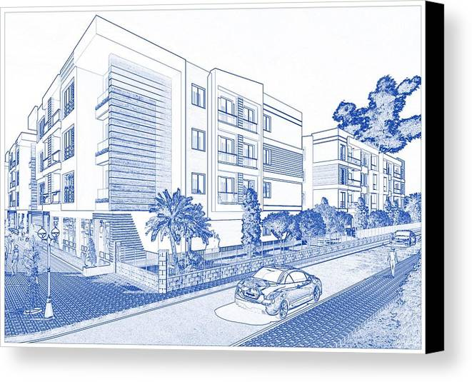 Blueprint drawing of modern apartment complex no 10 canvas print blueprint drawing of modern apartment complex no 10 canvas print featuring the painting blueprint drawing of malvernweather Images