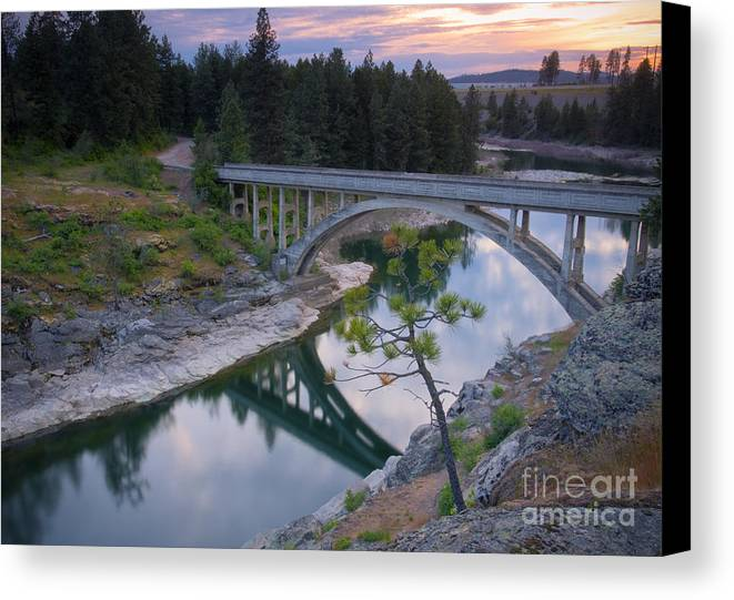 Historic Canvas Print featuring the photograph Bridge Reflection by Idaho Scenic Images Linda Lantzy
