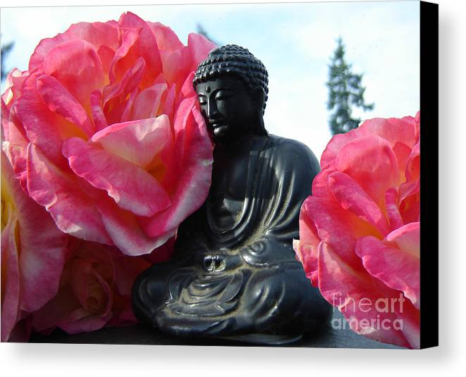 Buddha Canvas Print featuring the photograph Buddha And Roses by Eric Singleton