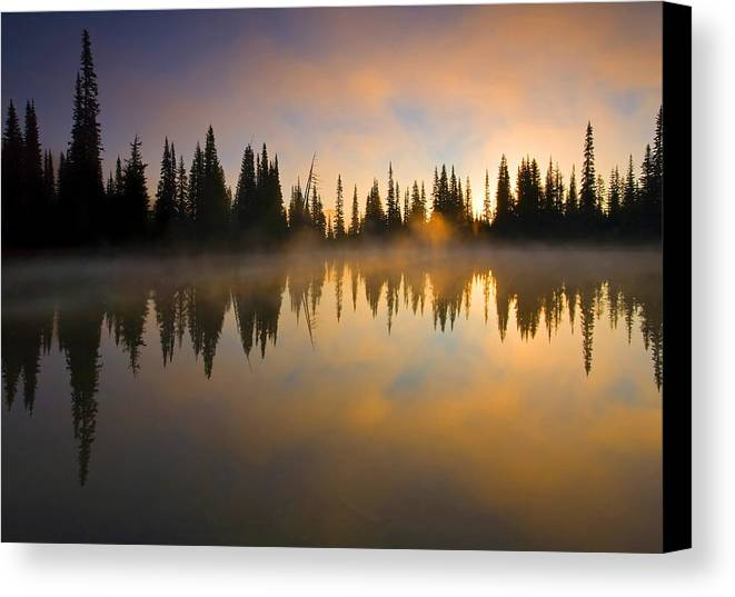 Lake Canvas Print featuring the photograph Burning Dawn by Mike Dawson