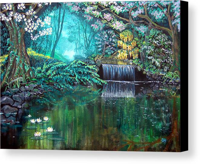Idyllic Forest Landscape Canvas Print featuring the painting By Still Waters by Sarah Hornsby