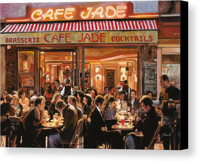 Brasserie Canvas Print featuring the painting Cafe Jade by Guido Borelli