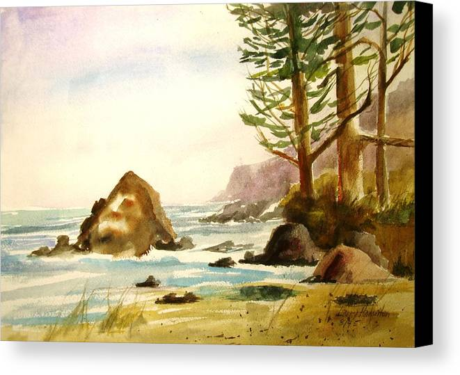 Watercolor Canvas Print featuring the painting California Coast by Larry Hamilton