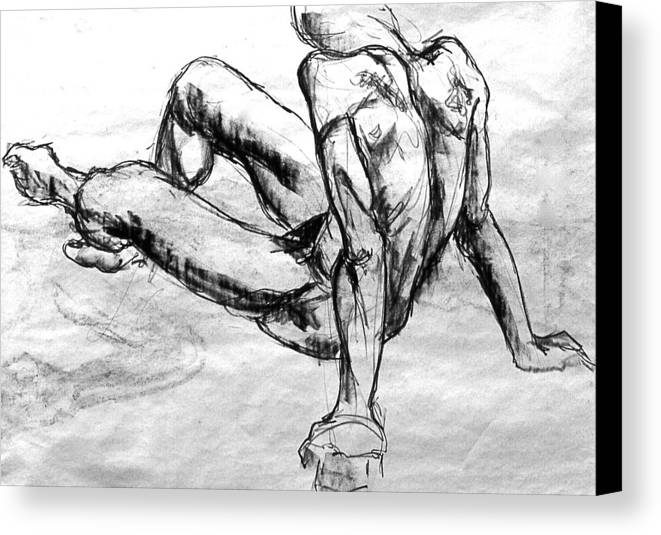 Nude Figure Drawings Female And Male Charcoal Drawings Male And Female Conte Drawings Female And Male Graphite Drawings Female Nude Drawings Male Nude Drawings Theme Drawings Drawings Canvas Print featuring the drawing Chatto by Chris Riley