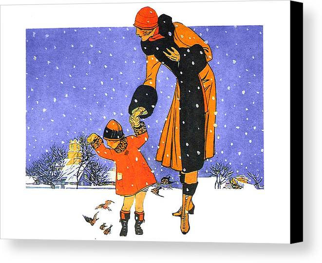 Girl Canvas Print featuring the photograph Christmas Snow by Munir Alawi