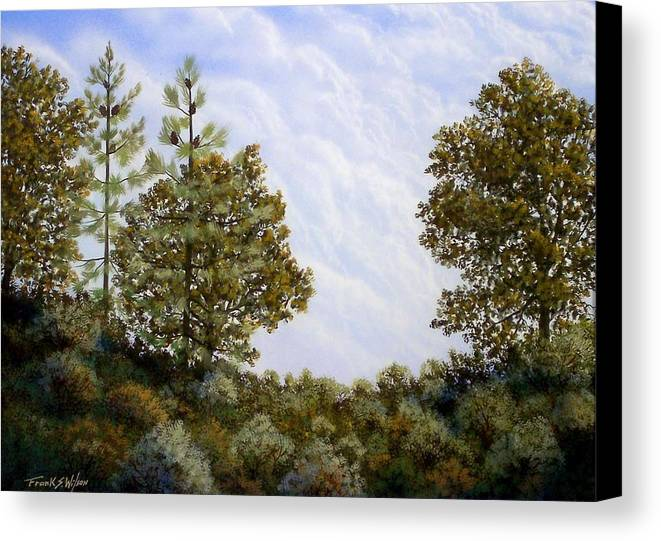 Landscape Canvas Print featuring the painting Clouds In Foothills by Frank Wilson