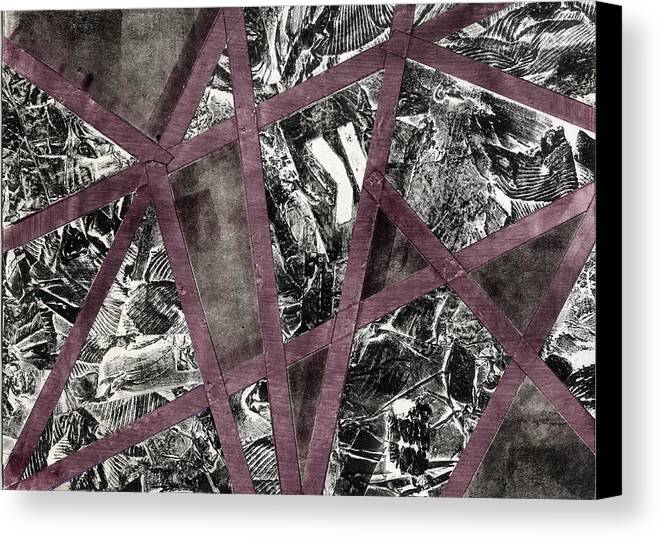 Abstract Canvas Print featuring the mixed media Between The Lines by Heather Brown