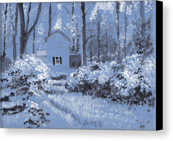 Monochrome Under Painting Canvas Print featuring the painting Cottage In The Woods by David Zimmerman