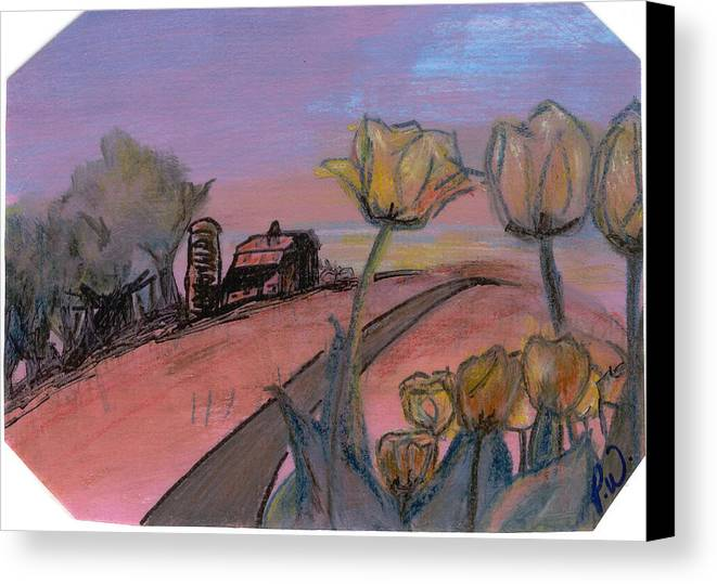 Watercolor Pencils Canvas Print featuring the drawing Country Road by Pamela Wilson