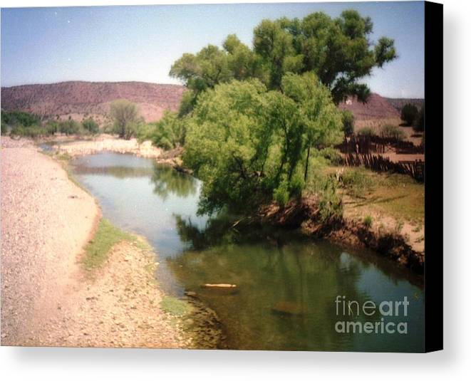 Desert Canvas Print featuring the photograph Desert Pond And Dry Mountains by Ted Pollard