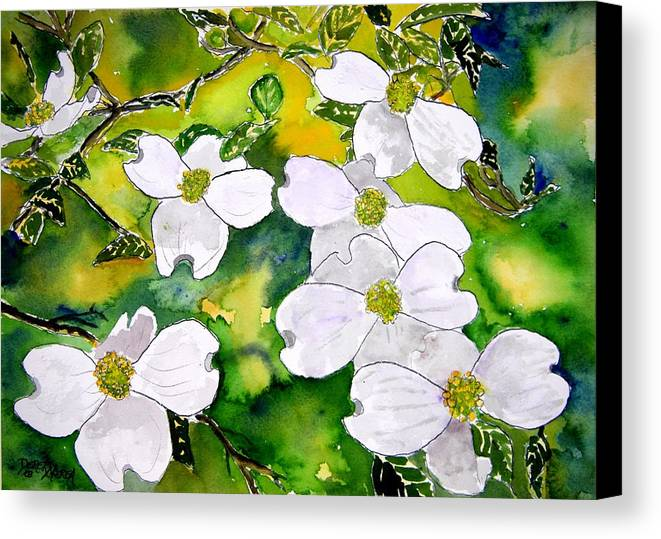 Dogwood Canvas Print featuring the painting Dogwood Tree Flowers by Derek Mccrea