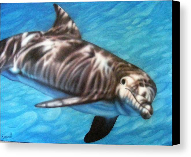 Flipper Porpoise Dolphin Canvas Print featuring the painting Dolphin by Dan Remmel