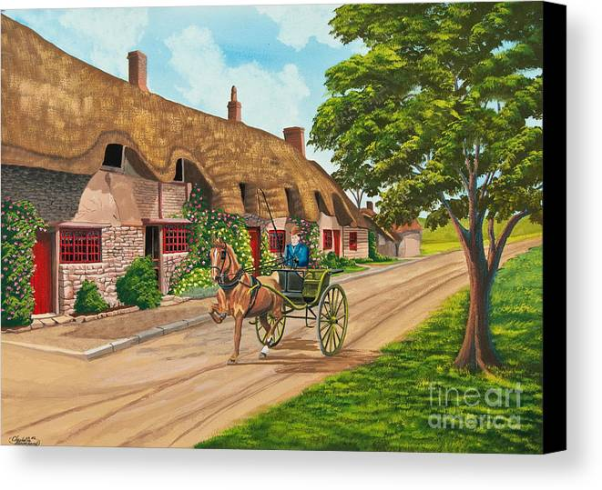 English Painting Canvas Print featuring the painting Driving A Jaunting Cart by Charlotte Blanchard