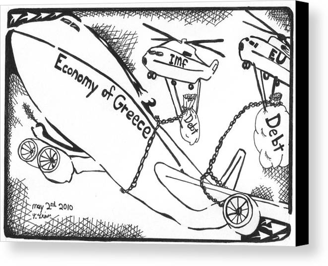 Economy Canvas Print featuring the drawing Editorial Maze Cartoon - Economy Of Greece By Yonatan Frimer by Yonatan Frimer Maze Artist