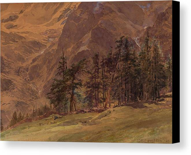 Nature Canvas Print featuring the painting Edward Theodore Compton American 1849-1921 Mountains At Twilight, 1907 by Edward Theodore Compton