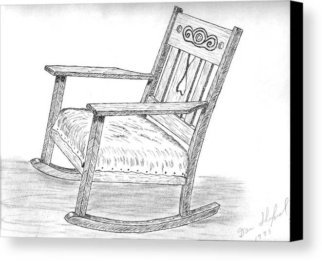 Chair Canvas Print featuring the drawing Effie's Chair by Daniel Shuford