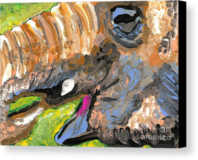 Aceo Canvas Print featuring the painting Elephant 1 by Helena M Langley