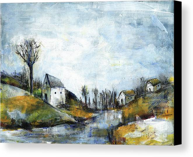 Landscape Canvas Print featuring the painting End Of Winter - Acrylic Landscape Painting On Cotton Canvas by Aniko Hencz