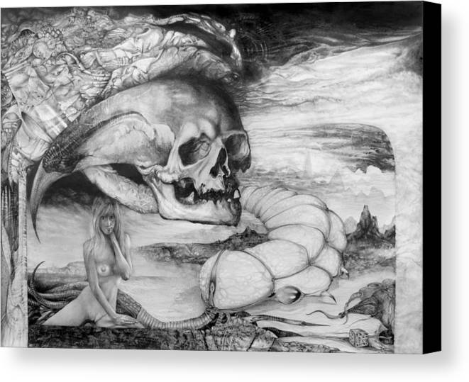 Art Of The Mystic Canvas Print featuring the drawing Eros Thanatos by Otto Rapp
