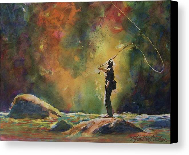 This Is An Original That Has Been Sold. \evening Cast\ Hangs In A Beautiful Home And Is Loved By Any Fisherman Canvas Print featuring the painting Evening Cast by Therese Fowler-Bailey