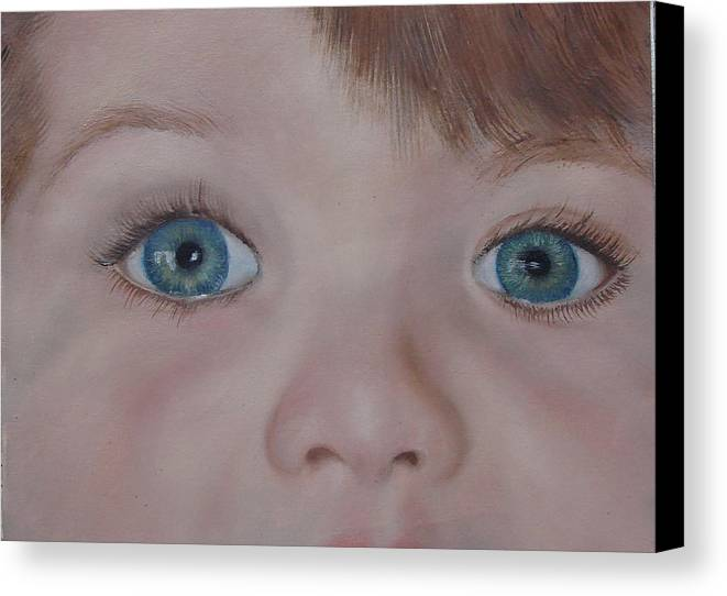 Eyes Canvas Print featuring the painting Eyes Of A Child by Darlene Green
