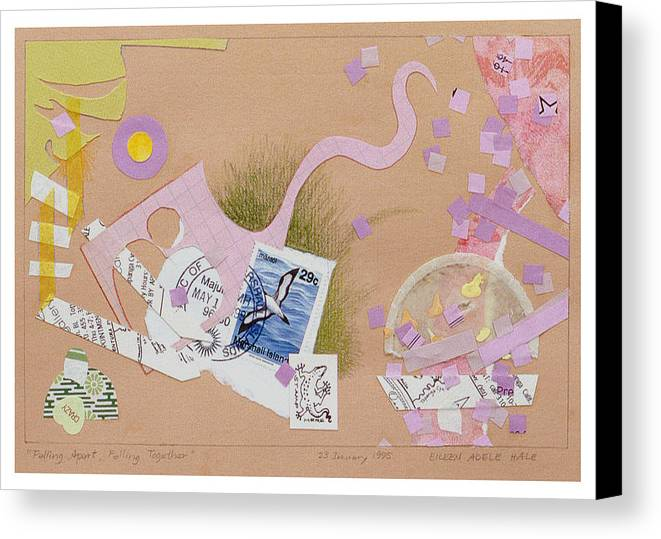 Collage Canvas Print featuring the mixed media Falling Apart Falling Together by Eileen Hale