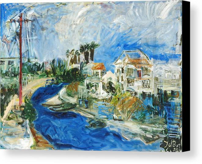 Town Houses Trees Palmtrees Street Blue Sky Canvas Print featuring the painting Famagusta by Joan De Bot