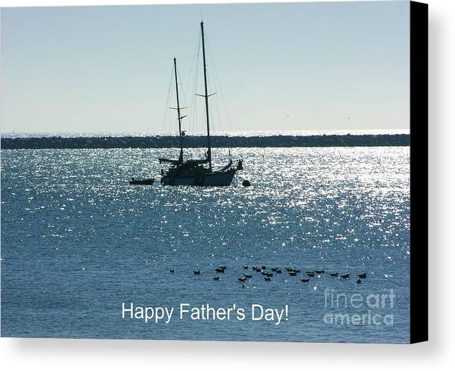 Peaceful Blue Bay Canvas Print featuring the photograph Father's Day Card - Peaceful Bay by Carol Groenen