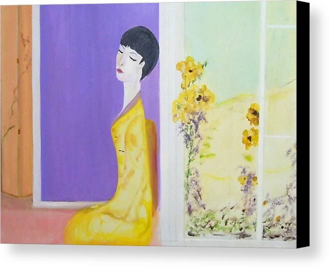 Oriental Lady Canvas Print featuring the painting Femme En Jaune by Michela Akers