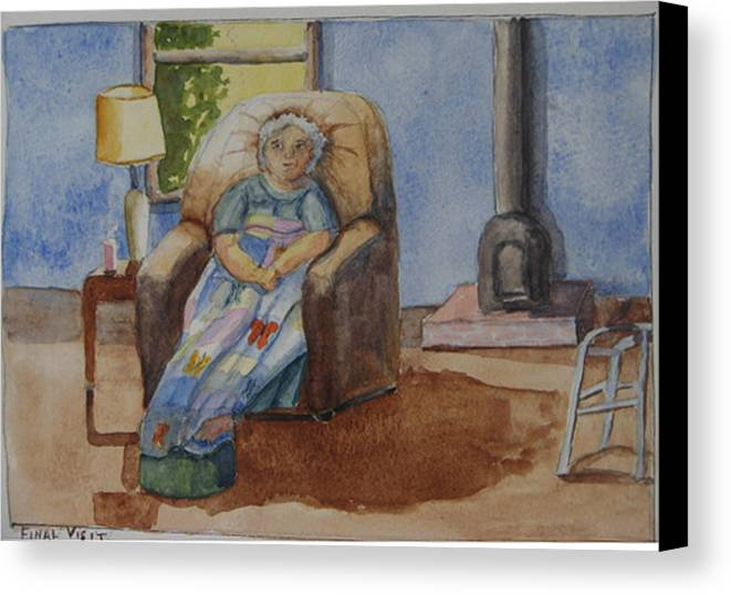 Figure Canvas Print featuring the painting Final Visit by Libby Cagle