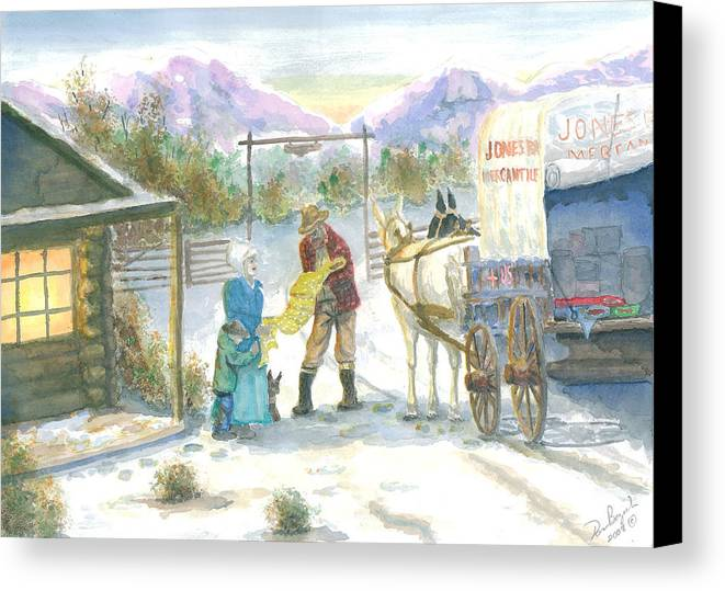 Pioneer Shopping Canvas Print featuring the painting First Snow - Last Call by Dan Bozich