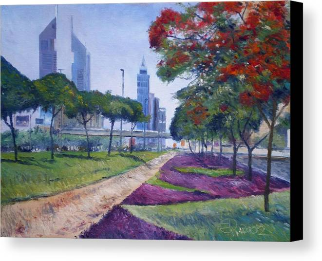 Dubai Uae Canvas Print featuring the painting Flame Of The Forest Trees Along Sheikh Zayed Road Dubai Uae 2002 by Enver Larney