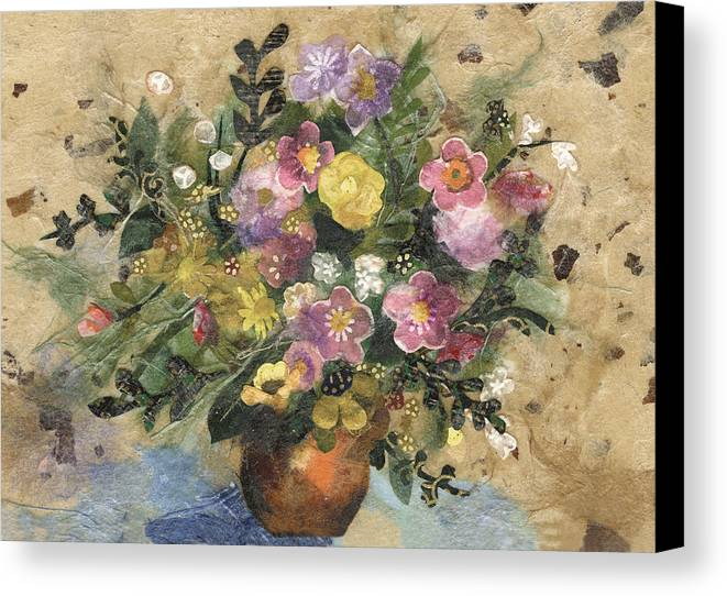 Limited Edition Prints Canvas Print featuring the painting Flowers In A Clay Vase by Nira Schwartz