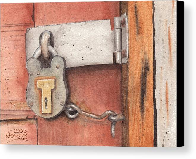 Lock Canvas Print featuring the painting Garage Lock Number Four by Ken Powers