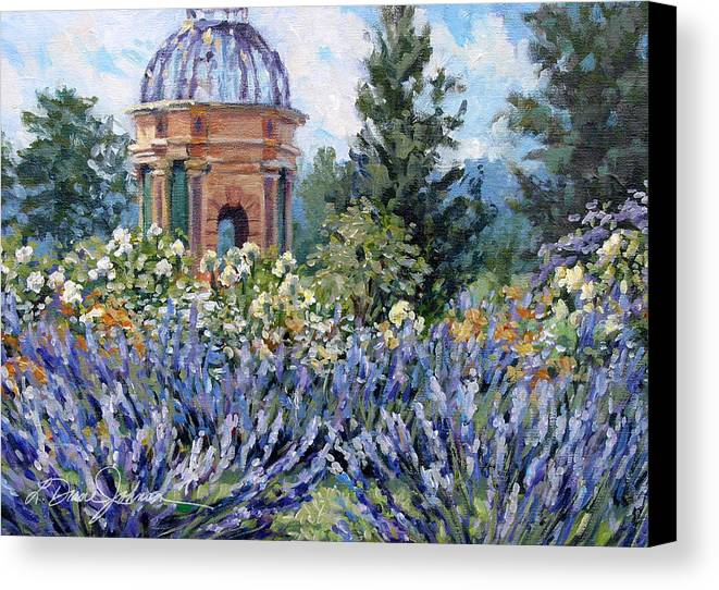 Provence France Canvas Print featuring the painting Garden Profusion - Lavendar by L Diane Johnson