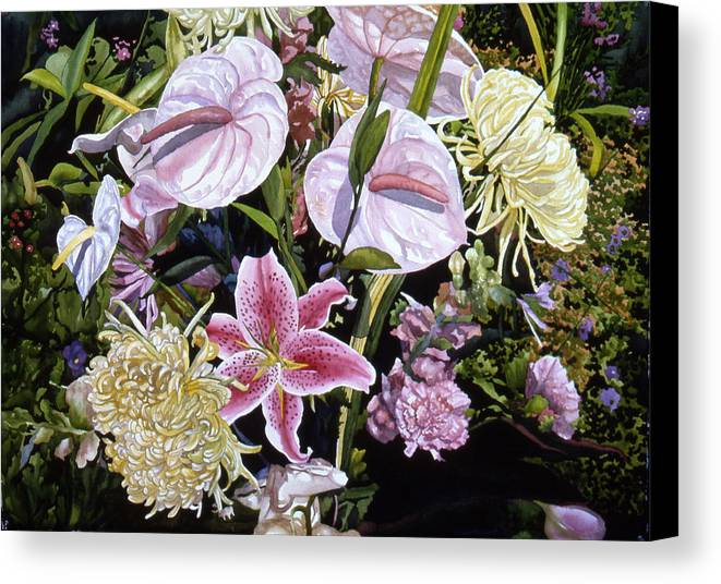 Watercolor Canvas Print featuring the painting Garden Song by Teri Starkweather