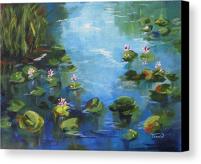 Giverny Canvas Print featuring the painting Giverny Lily Pond by Torrie Smiley