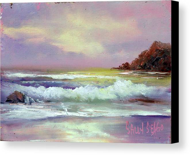 Sea Canvas Print featuring the painting Gold Beach by Sally Seago